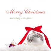 Christmas card with ornaments on a white background — Stock Photo