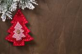 Textile toy in the shape of a Christmas tree made by hand — Stock Photo