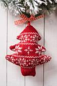 Textile toy in the shape of a Christmas tree — Stock Photo