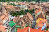 SIGHISOARA, ROMANIA - JULY 17: Aerial view of Old Town in Sighisoara, major tourist attraction on July 17, 2014. City in which was born Vlad Tepes, Dracula — Photo