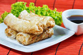 Fried spring rolls on red bamboo mat — Stockfoto