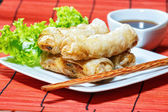 Fried spring rolls on red bamboo mat — Stock Photo