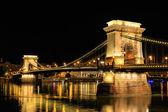 Chain Bridge, Budapest. Night view — Stock Photo