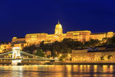 Night view of Chain bridge and royal palace in Budapest, Hungary — Foto de Stock
