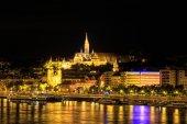 Night View with Matthias Church in Budapest, Hungary — Stock Photo