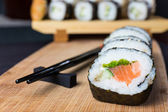 Close up of sushi, Japanese seafood — Stock Photo