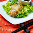 Fried spring rolls on red bamboo mat — Stock Photo #53516273