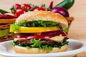 Homemade hamburger with fresh vegetables, close up — Stock Photo