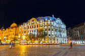 ROMANIA, TIMISOARA - JULY 22: Night view of city center in Timisoara on July 22, 2014, Romania. Timisoara is the 3rd largest city and popular tourist place. — Stock Photo