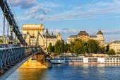 HUNGARY, BUDAPEST - JULY 23: Chain bridge is a suspension bridge that spans the River Danube between Buda and Pest on July 23, 2014 in Budapest.  — Stock Photo