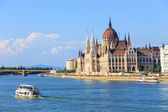 BUDAPEST - JULY 24: Hungarian Parliament on July 24, 2014. It is one of the most famous buildings in Europe and a popular tourist destination of Budapest.  — Stock Photo