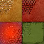 Set of grunge geometric hexagon pattern  — Stockfoto