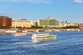 HUNGARY, BUDAPEST- JULY 23: A view to Budapest on July 23, 2014. Budapest is one of the most visited by tourists capital in Europe — Stock Photo
