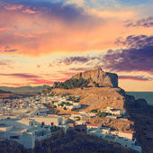 Angle view of Lindos, Rhodes Island, vintage look — Stock Photo