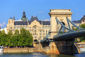 HUNGARY, BUDAPEST - JULY 24: Chain bridge is a suspension bridge that spans the River Danube between Buda and Pest on July 24, 2014 in Budapest.  — Stock Photo