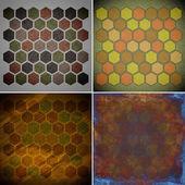 Set of grunge geometric hexagon pattern  — Foto de Stock