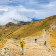 Zakopane, POLAND - September 13: Group of tourists walk to the top of the Kasprowy Wierch in Tatra Mountains on September 13, 2014 in Tatra Mountains, Poland. — Stock Photo #57731411