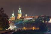 KRAKOW, POLAND - October  11, 2014: Night view of Royal Wawel castle. Krakow is most famous city to visit in Poland.  — Foto de Stock