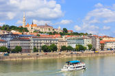 HUNGARY, BUDAPEST- JULY 24: A view to Budapest on July 24, 2014. Budapest is one of the most visited by tourists capital in Europe — Stock Photo