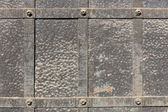 Doors reinforced with iron, close up — Stock Photo