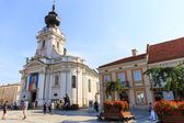 Wadowice, Poland - September 07, 2014: Tourists visit the city center of Wadowice. Wadowice is the place of birth of Pope John Paul II — Foto Stock