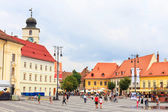 Sibiu, Romania - July 19, 2014: Old Town Square in the historical center of Sibiu was built in the 14th century, Romania — Photo