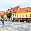Sibiu, Romania - July 19, 2014: Old Town Square in the historical center of Sibiu was built in the 14th century, Romania — Stock Photo #61330043