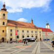 Sibiu, Romania - July 19, 2014: Old Town Square in the historical center of Sibiu was built in the 14th century, Romania — Stock Photo #61330087