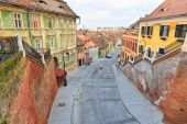 Sibiu, Romania - July 19, 2014: Old Town Square in the historical center of Sibiu was built in the 14th century, Romania — Stock Photo