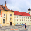 Sibiu, Romania - July 19, 2014: Old Town Square in the historical center of Sibiu was built in the 14th century, Romania — Stock Photo #61551815