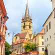 Sibiu, Romania - July 19, 2014: Old Town Square in the historical center of Sibiu was built in the 14th century, Romania — Stock Photo #61551819