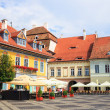Sibiu, Romania - July 19, 2014: Old Town Square in the historical center of Sibiu was built in the 14th century, Romania — Stock Photo #61551855