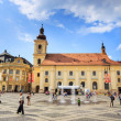Sibiu, Romania - July 19, 2014: Old Town Square in the historical center of Sibiu was built in the 14th century, Romania — Stock Photo #61551871
