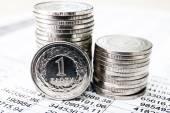 Polish zloty coins, close up — Stock Photo