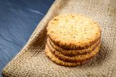 Closeup of stack biscuit cookies on table — Stock Photo