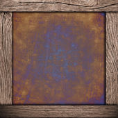 Wood frame with corroded metal background — Стоковое фото