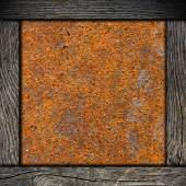 Wood frame with corroded metal background — Stok fotoğraf