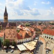 Sibiu, Romania - July 19, 2014: Old Town Square in the historical center of Sibiu was built in the 14th century, Romania — Stock Photo #75588175