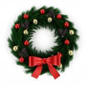 Green christmas wreath  isolated on white background — Stock fotografie