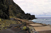 The road to Castillo Del Mar destroyed by landslide, La Gomera, Canary, Spain — Stock Photo