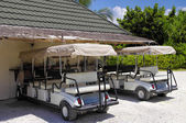 The electric buggy - typical means of transport in the Herathera Island Resort, — Stock Photo
