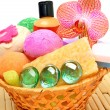 Soap, gel, bath bombs, sponges in the basket — Stock Photo #54400563
