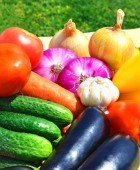 Raw, ripe, bright vegetables on the green grass — Stock Photo