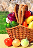 Ripe vegetables in the picnic basket in nature — Stock Photo