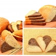 Fresh bread, wheat ears and bread slices on the wooden board — Stock Photo #55411391