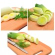 Fresh sliced leeks and dill on a wooden board — Stock Photo #55411807