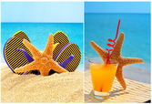Fishstar, glass of orange cocktail against the blue sea — Stock Photo