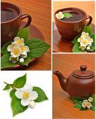 Tekopp med jasmine blomma på trä — Stockfoto