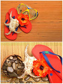 Mask, seashell, flower and flip flop sandals on the wood — Stock Photo