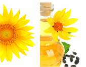 Carafe with vegetable oil and sunflowers — Stock Photo